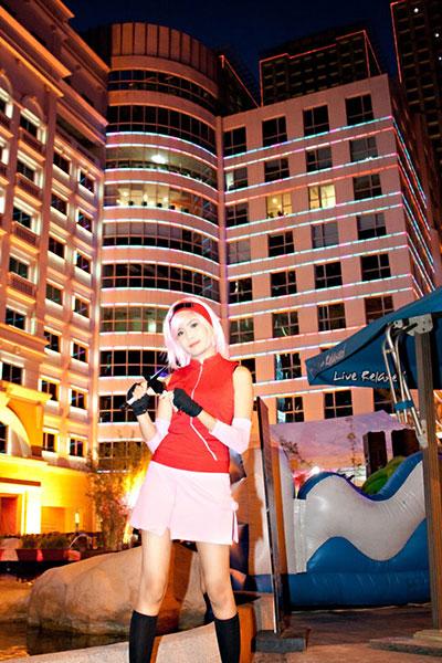 Myrtle Gail cosplays Sakura Haruno from Naruto.