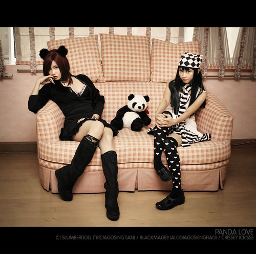 Alodia and Crissey with a Panda