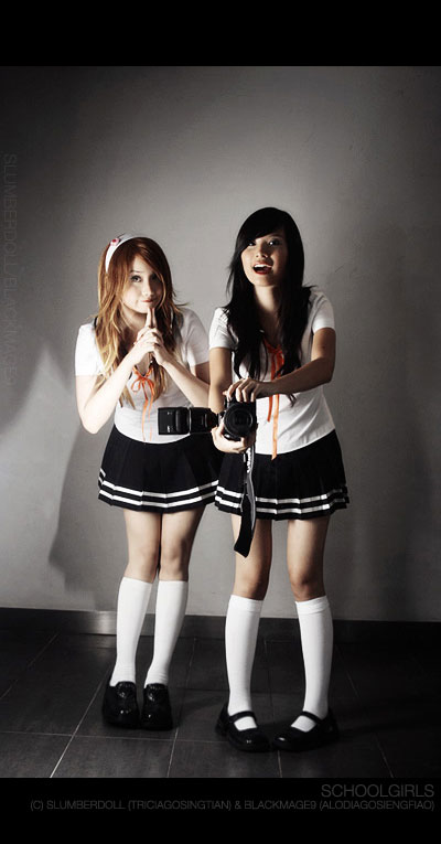 Alodia and Tricia as Schoolgirls