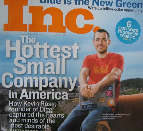 Digg Founder Kevin Rose on the Cover of Inc. Magazine