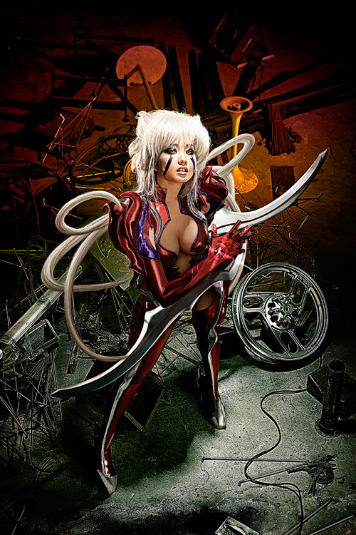 Filipina cosplayer Alodia Gosiengfiao portrays Amaha Masane from the anime series Witchblade.