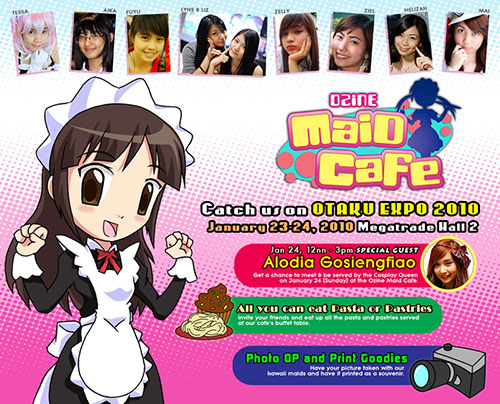 Ozine Maid Cafe at Otaku Expo 2010 features Filipina cosplay queen Alodia Gosiengfiao.