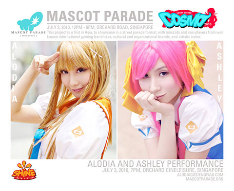 Filipina cosplay sisters Alodia and Ashley Gosiengfiao for the Singapore Mascot Parade.