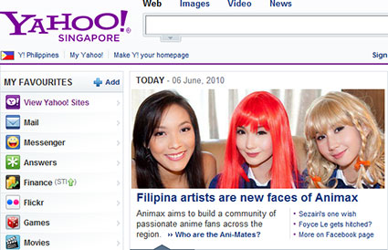 Animax Ani-Mates Stephanie Henares, Alodia Gosiengfiao, and Ashley Gosiengfiao on the front page of Yahoo Singapore.