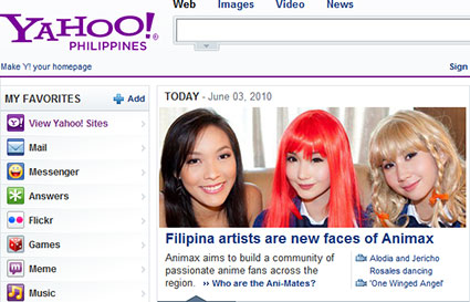 Animax Ani-Mates Stephanie Henares, Alodia Gosiengfiao, and Ashley Gosiengfiao on the front page of Yahoo Philippines.