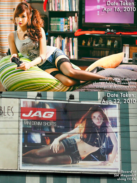 Above is a popular photo of Filipina gamer girl Alodia Gosiengfiao, taken by her sister Ashley Gosiengfiao. Below is a billboard for the clothing line Jag.