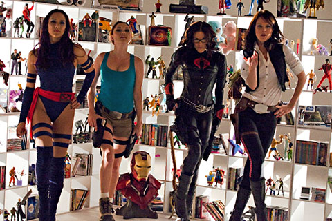 Geek babes strut their stuff in the music video for Geek and Gamer Girls. Milynn Sarley cosplays Psylocke from X-Men, Clare Grant cosplays Lara Croft from Tomb Raider, Rileah Vanderbilt cosplays The Baroness from G.I. Joe, and Michele Boyd cosplays Han Solo from Star Wars.